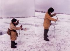 Дед и я, зимняя рыбалка